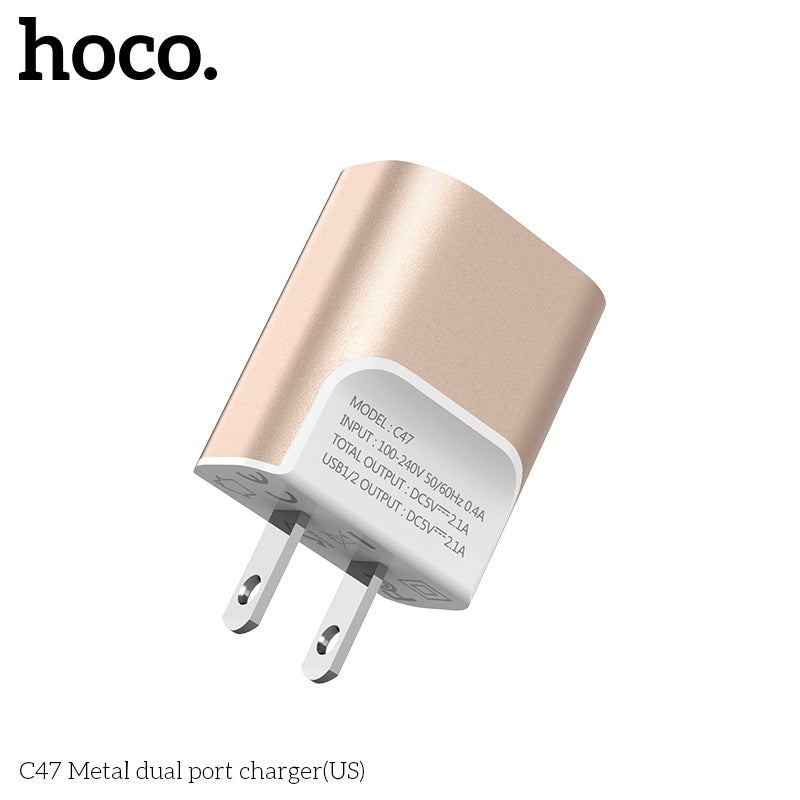 HOCO 5V 2.1A Dual USB Charger US EU Plug Mobile Phone Charger USB Wall Charger for iPhone Samsung Sony LG Google  HUAWEI Travel Charging Adapter - Hot Phone Tech