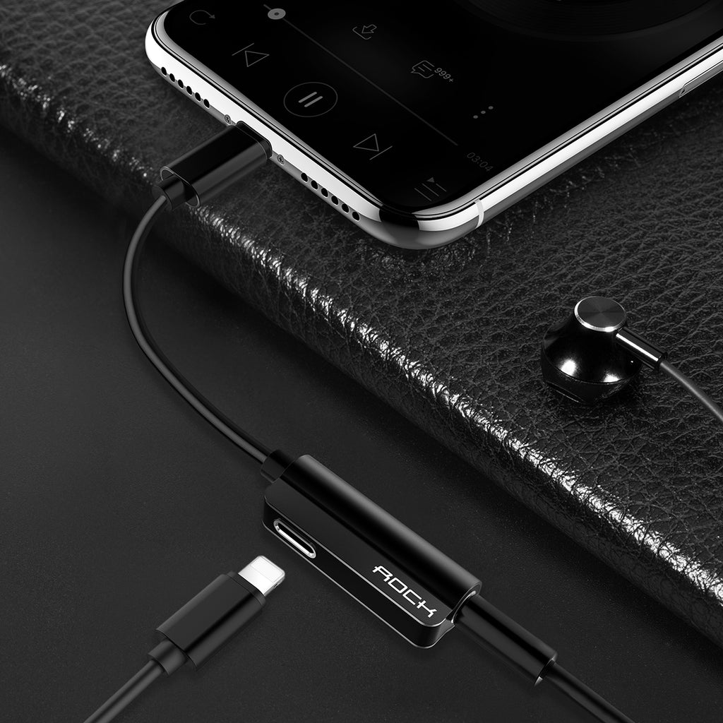 Rock For iPhone Jack adapter 2 in 1 Audio Splitter Cable for Lightning Charging Wire to 3.5mm Headphone AUX Cord For Iphone XS MAX XS XR X 8 7 6 - Hot Phone Tech