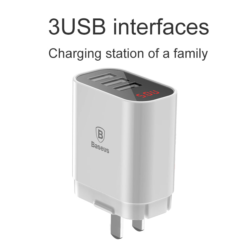 Baseus LED Display 3 USB Charger Mobile Phone USB Charger Fast Charging Wall Charger For iPhone Samsung Sony Google LG Xiaomi 3.4A Max Charger - Hot Phone Tech
