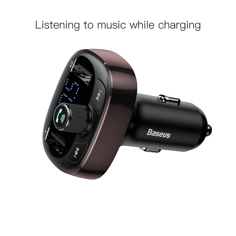 Baseus Bluetooth 4.2 Car Charger Kit FM Transmitter Handsfree Audio MP3 Player 3.4A Dual USB Aux Modulator Mobile Phone Charger - Hot Phone Tech