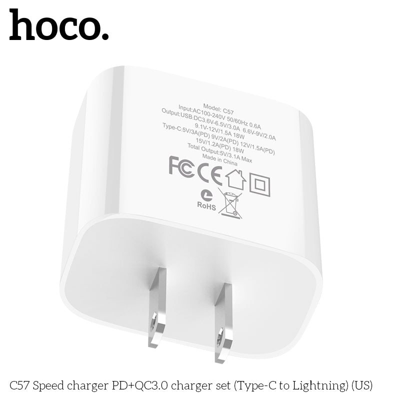 HOCO 18W USB PD Quick Charge Wall Charger Adapter QC3.0/2.0 Fast Charger with Type C to Lightning Fast charging Cable For iPhone XS MAX XS XR X 8 - Hot Phone Tech