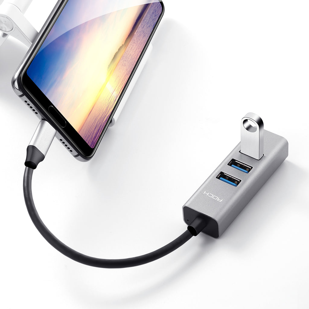 TYPE C TO USB3.0*4 Converter Cable adapter Good quality High-speed transmission Gigabit network LED light - Hot Phone Tech