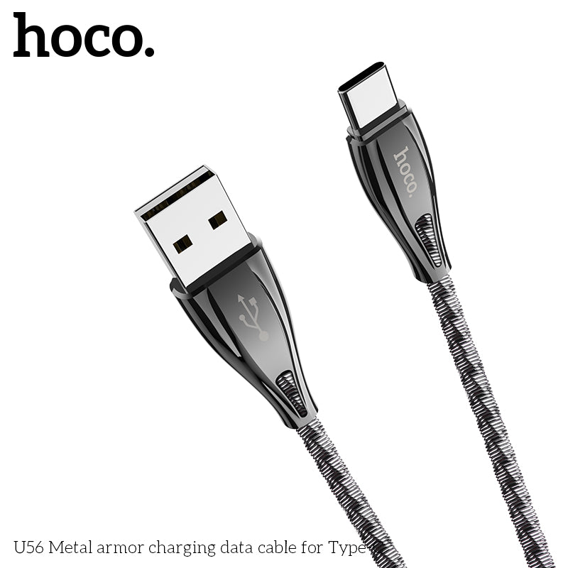 HOCO Stainless Steel USB To Type C Cable  Fast Charging Cable Data Cord For Samsung LG HTC Google HUAWEI ALL Android Device - Hot Phone Tech