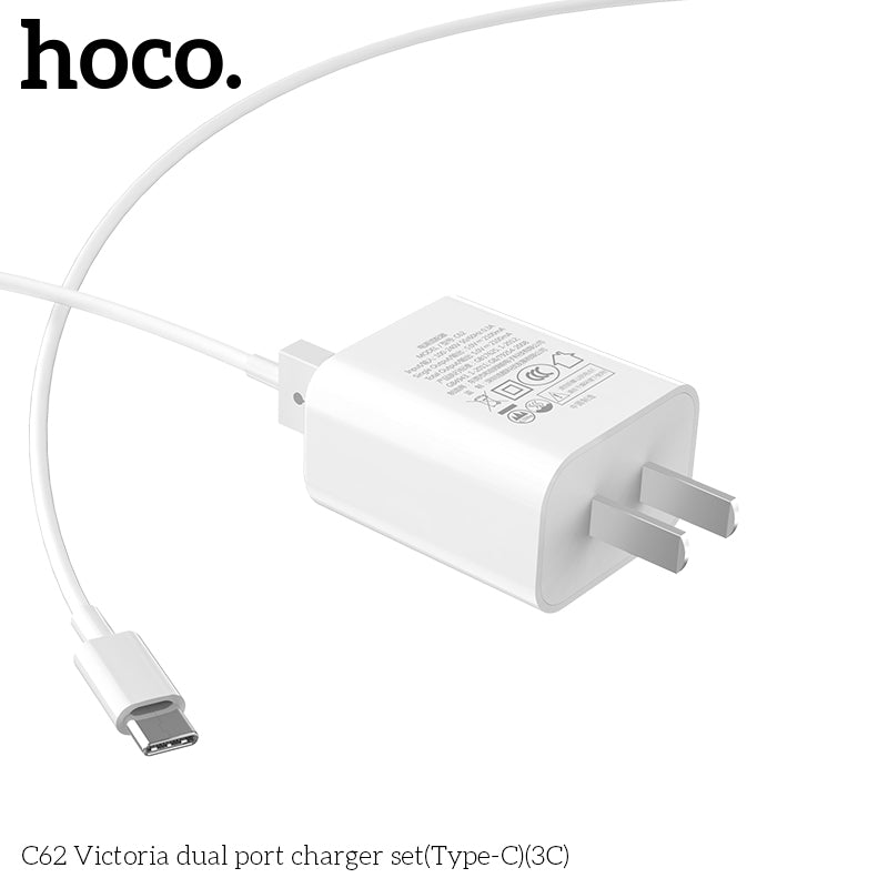 HOCO 5V 2.1A Dual USB Charger US Plug Mobile Phone Charger USB Wall Charger for iPhone Samsung Google HUAWEI LG Sony  Travel Charging Adapter with Type-C cable - Hot Phone Tech