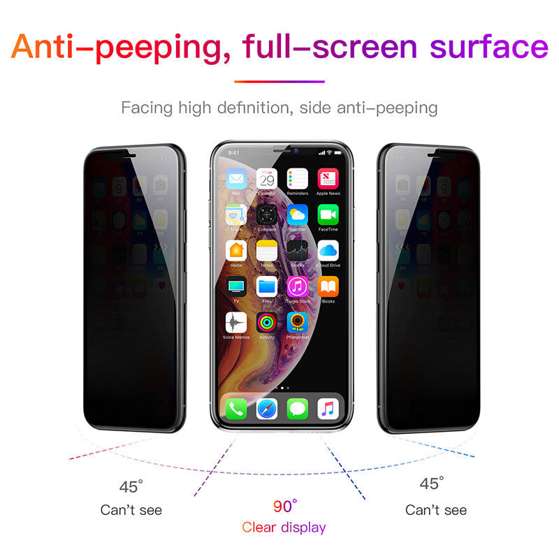 Baseus 0.23mm Curved-Screen Tempered Glass Screen Protector With Crack-Resistant Edges And Anti-Spy Function For iPhone XR XS MAX Black - Hot Phone Tech