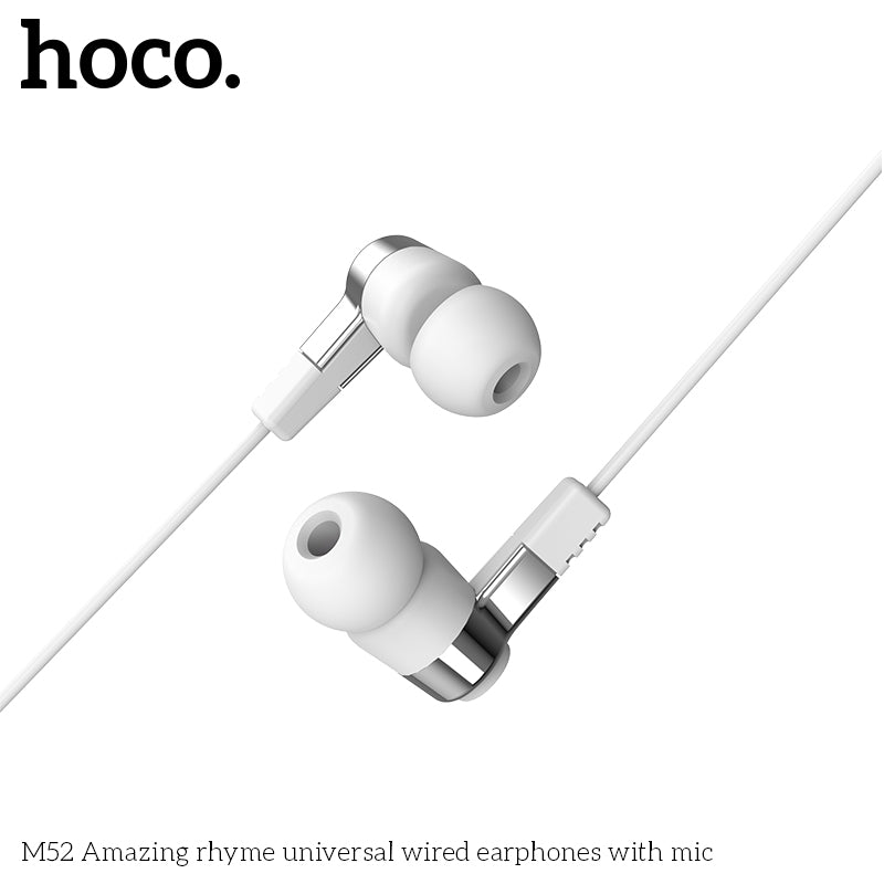 HOCO M52 Earphones 3.5mm Wired Control Earbuds Headset with Microphone For iPhone Samsung Google Sony LG HUAWEI Android Phones High Quality Earphones New - Hot Phone Tech