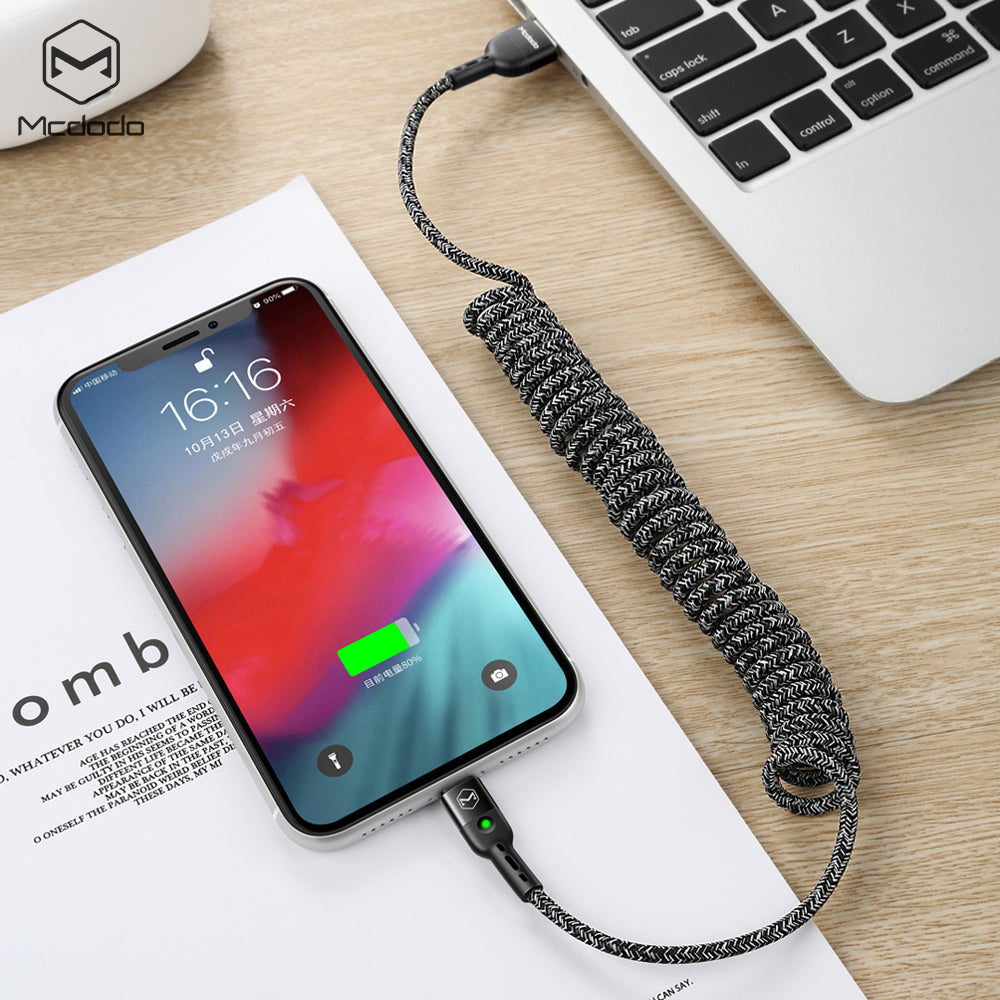 Mcdodo 1.8M Spring Extension Landline Type C Cable for Samsung Huawei Sony Google LG  Phone Fast Charger USB Type-C Data Cable - Hot Phone Tech