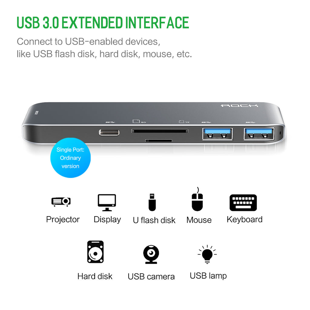 Rock 6 in 1 Usb Hub All in 1 Converter USB-C to HDMI 4K SD TF Card Reader for MacBook/Pro Type C HUB USB 3.0 5Gbps Aluminum - Hot Phone Tech