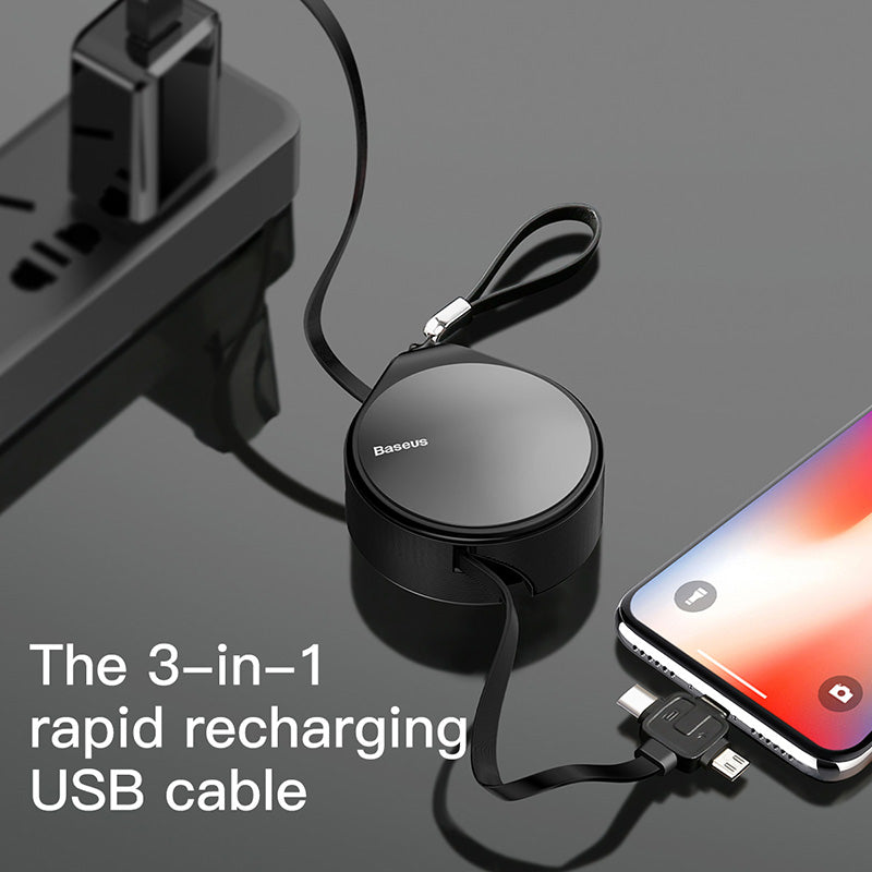 Baseus Retractable USB Cable For iPhone Samsung Google LG HTC HUAWEI Data Charging Charger Cord 3 In 1 Micro USB Cable USB Type C Cable Adapter - Hot Phone Tech
