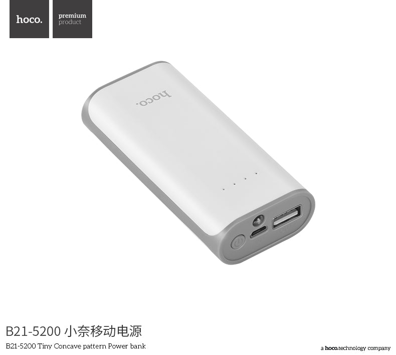 HOCO B21 5200mAh 18650 Mini USB Power Bank Portable Mobile Phone External Battery Charger Powerbank For iPhone Samsung Sony LG HUAWEI - Hot Phone Tech