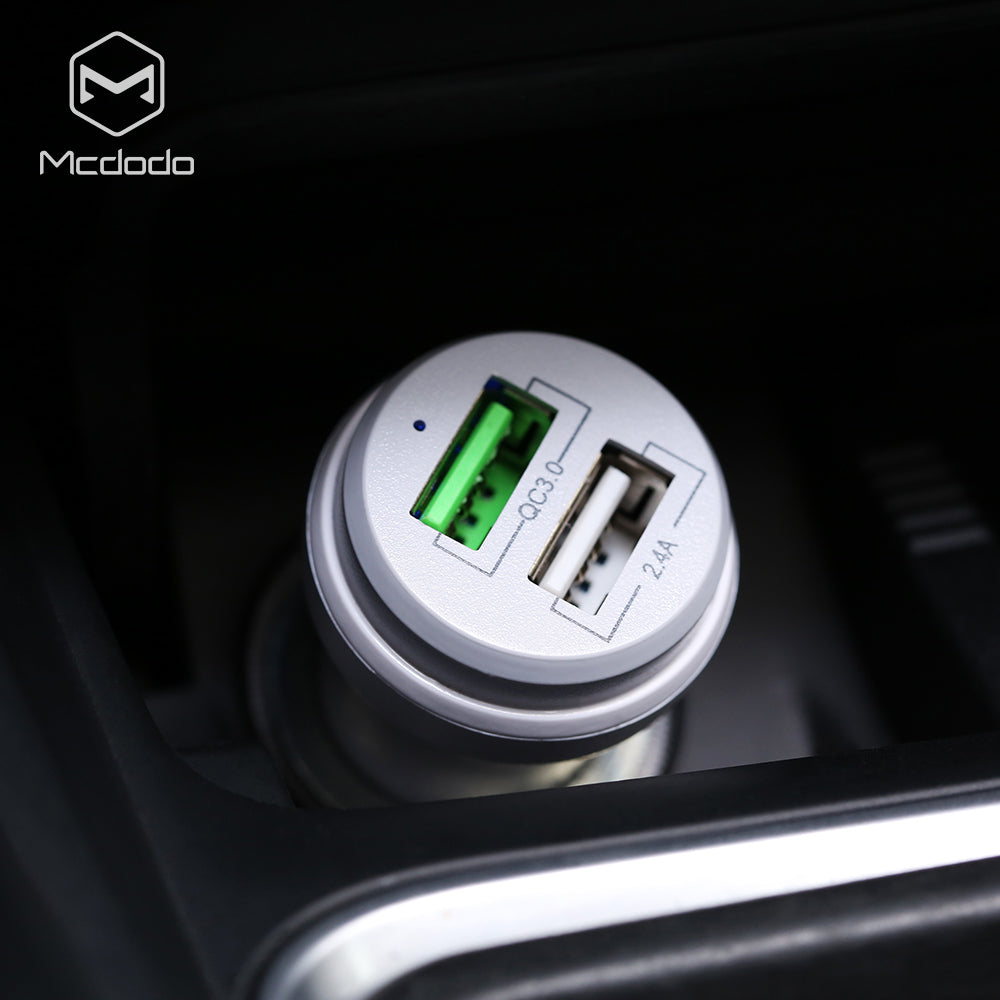 Mcdodo Dual USB QC3.0 Car Charger Fast Charging for iPhone Car-charger Adapter for Samsung HTC LG Google HUAWEI Xiaomi Car Phone Charger - Hot Phone Tech
