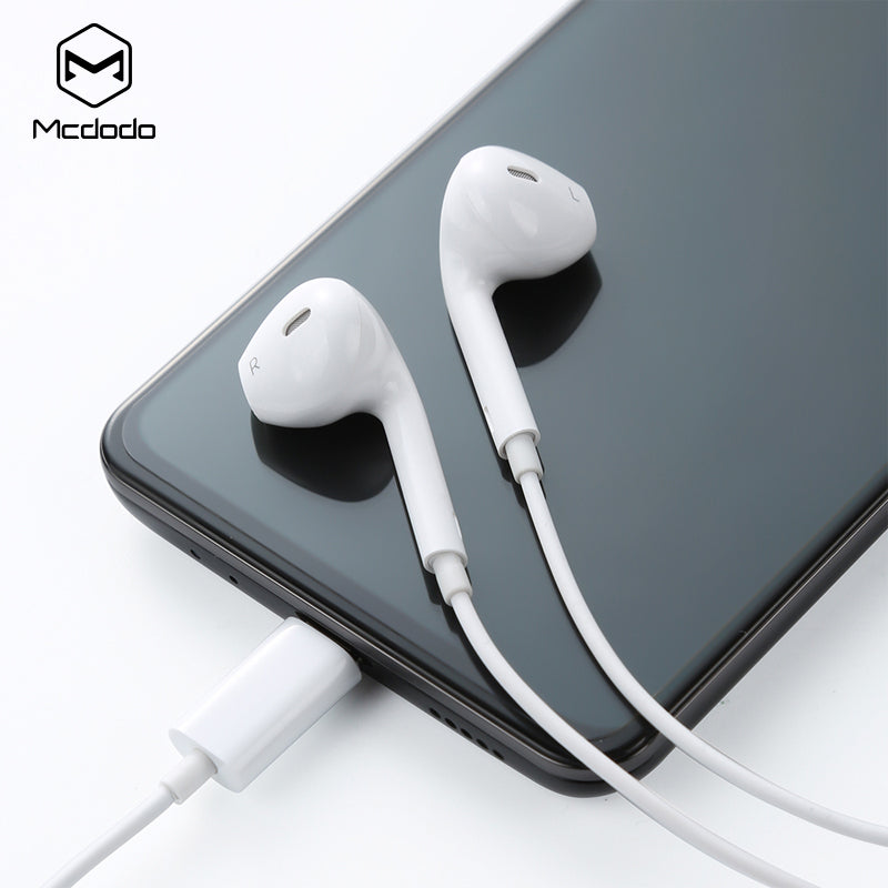 Mcdodo Type-C Earphone Wired Control Earbuds Digital in-ear Sport stereo earphone With Mic Earbuds Type-c jack mobile phone - Hot Phone Tech