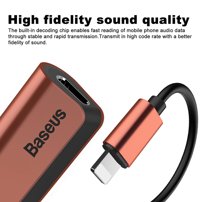 Baseus Aux Audio Earphone Headphone Adapter For iPhone Xs Max Xr X 8 7 Connector Charger Splitter 2 in 1 For Lightning Adapter - Hot Phone Tech