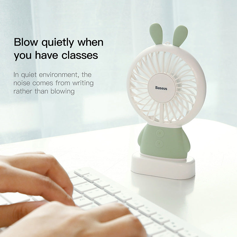Baseus Home Office Handheld Rabbit Fan Mini USB Charging Fan With Desk Base Rechargeable Air Conditioner For Student - Hot Phone Tech