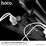 HOCO Dual Output USB Car Charger Universal 5V2.4A Fast USB Charger Adapter For Samsung Google HUAWEI Sony LG iPhone  with Micro cable - Hot Phone Tech