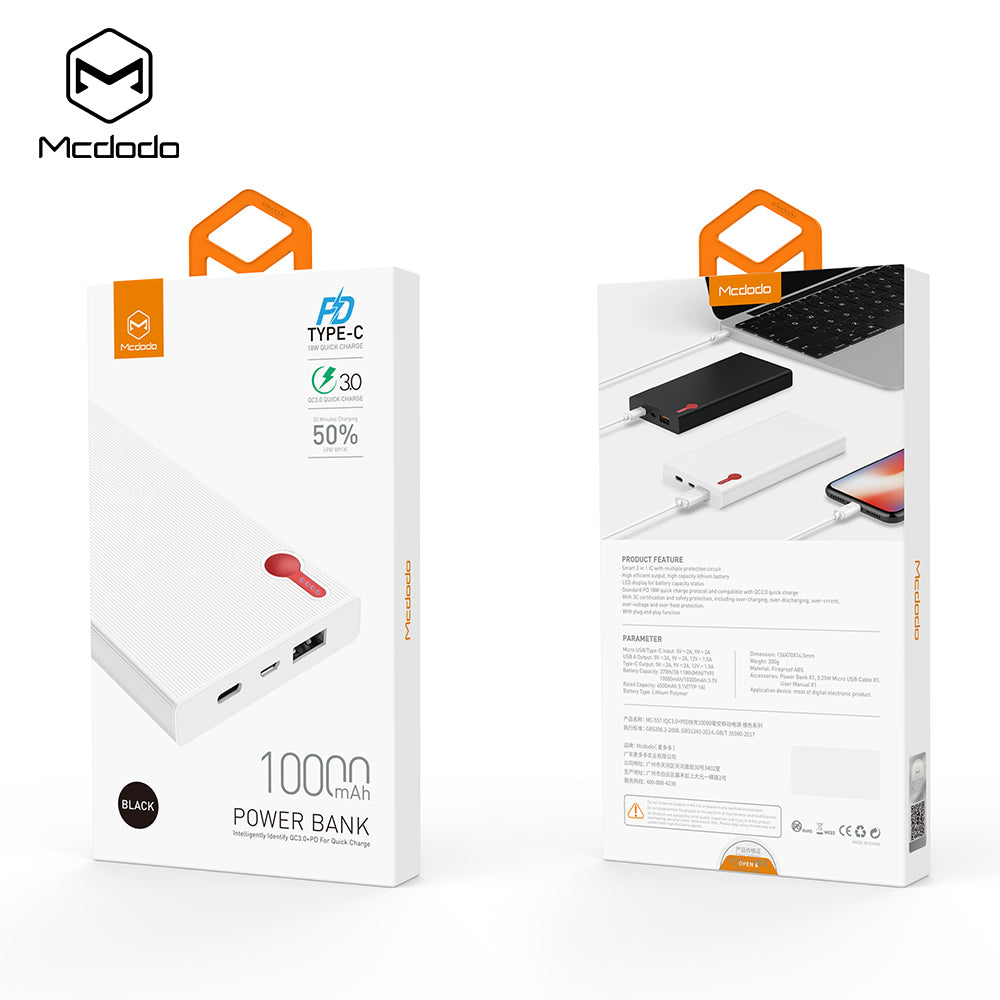 Mcdodo 10000mAh Power Bank QC3.0 PD Type-C PD Two-Way Quick Charge 18W External Battery For Samsung Google Sony LG HUAWEI  iPhone Mobile Phones - Hot Phone Tech