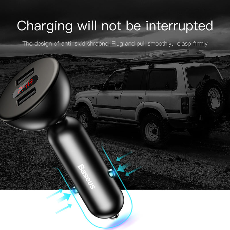 BASEUS Shake-Head Digital Display Dual-USB Car Charger Intelligence Fast Charge for iPhone Samsung Google LG HUAWEI Universal Cellphone - Hot Phone Tech