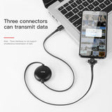 Baseus 3 in 1 Adjustable USB Cable For iPhone Xs MAX XR X 8 7 Fast Data Charging Charger USB Type C Cable For Samsung Google LG HTC HUAWEI Android Micro USB Cable - Hot Phone Tech