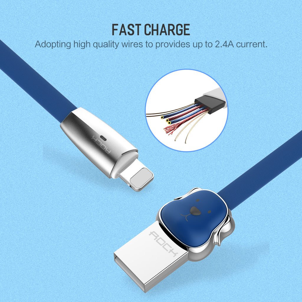 ROCK Dog Zinc Alloy USB Charger Charger Date SYNC Cord Cable for iPhone XS MAX XS XR  X 10 8 7 Plus SE, ROCK Mascot USB Cable for iPhone X 8 SE Charging Cable - Hot Phone Tech