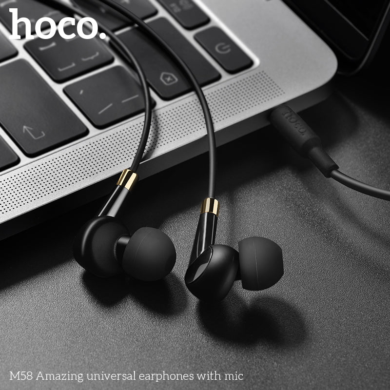 HOCO M58 Earphones 3.5mm Wired Control Earbuds Headset with Microphone for iPhone Samsung Sony Google LG HUAWEI Android Phones High Quality Earphones New - Hot Phone Tech