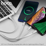 HOCO 1m 3 in 1 USB Charger Charging Cable for iPhone Android Phones USB Type-C Mobile Phone Cables For iPhone Samsung LG HTC Google HUAWEI ALL Cellphone Device - Hot Phone Tech