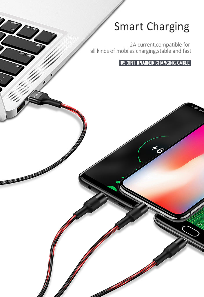 USAMS 3 in 1 Mobile Phone Data Cable Type C Micro USB Lightning Cable Fast Charging Charger For iPhone Samsung Sony LG HUAWEI Google - Hot Phone Tech