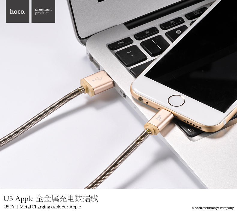 HOCO Original Metal Jelly Knitted Charging Data USB Cable For Apple iPhone XS MAX XS XR X 8 7 6 Indicator Charger Wire Data Transfer Sync - Hot Phone Tech