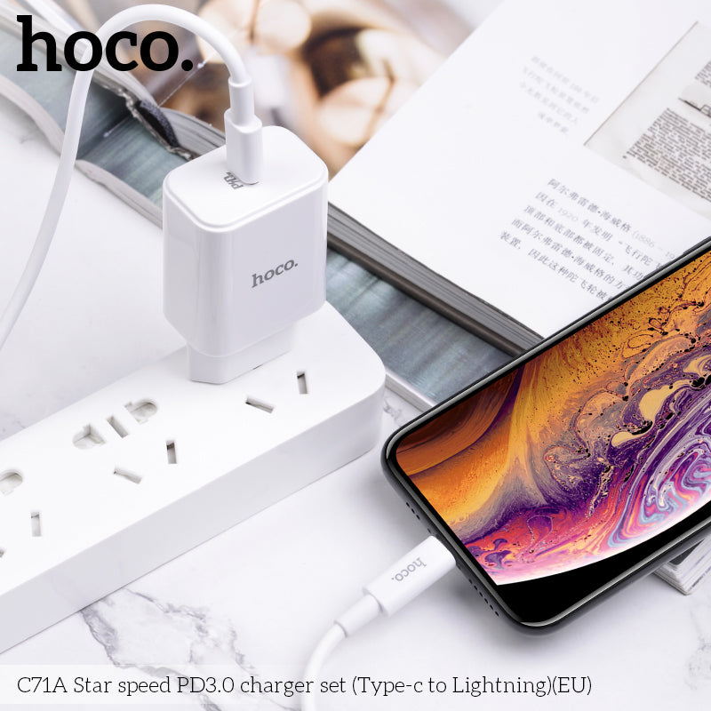 HOCO 18W USB-C PD3.0 Fast Charger Quick Charge 3.0 Type C Wall Power Adapter for iPhone Huawei Samsung Sony Google LG QC 3.0 Phone Charger with Type-C TO Lightning cable For iPhone XS MAX XS XR X 8 - Hot Phone Tech