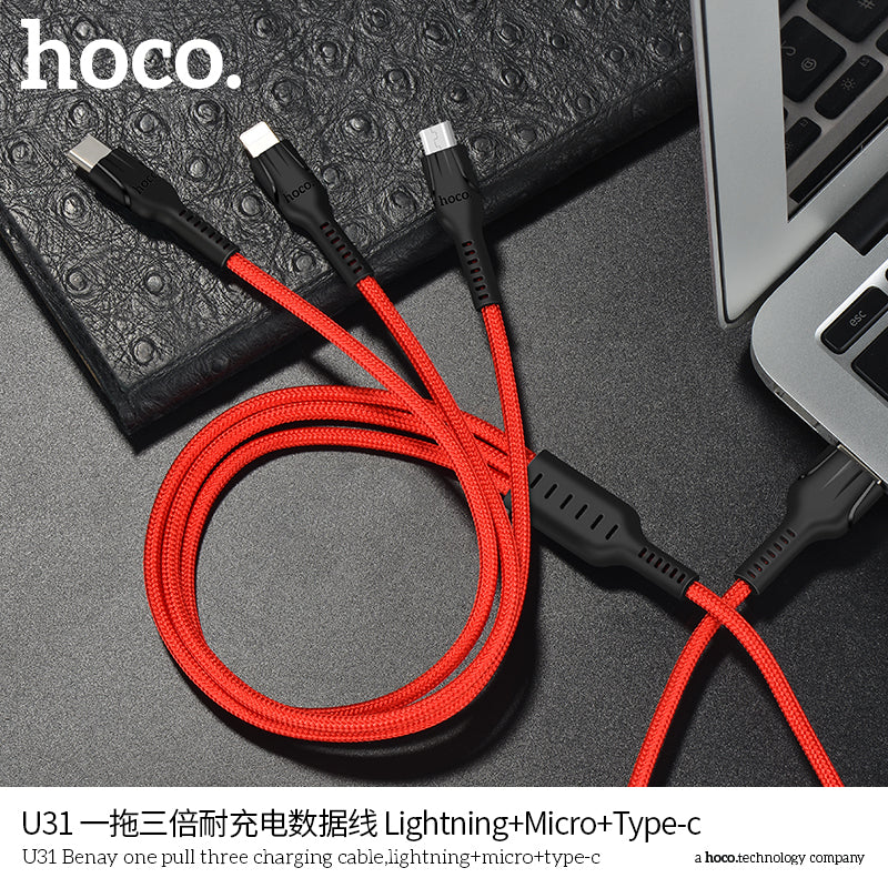HOCO 3in1 USB Charger Cable For iPhone  Android Micro USB Cable Type C For Samsung LG Sony Google HUAWEI iPhone Mobile Phone USB Data Cable - Hot Phone Tech