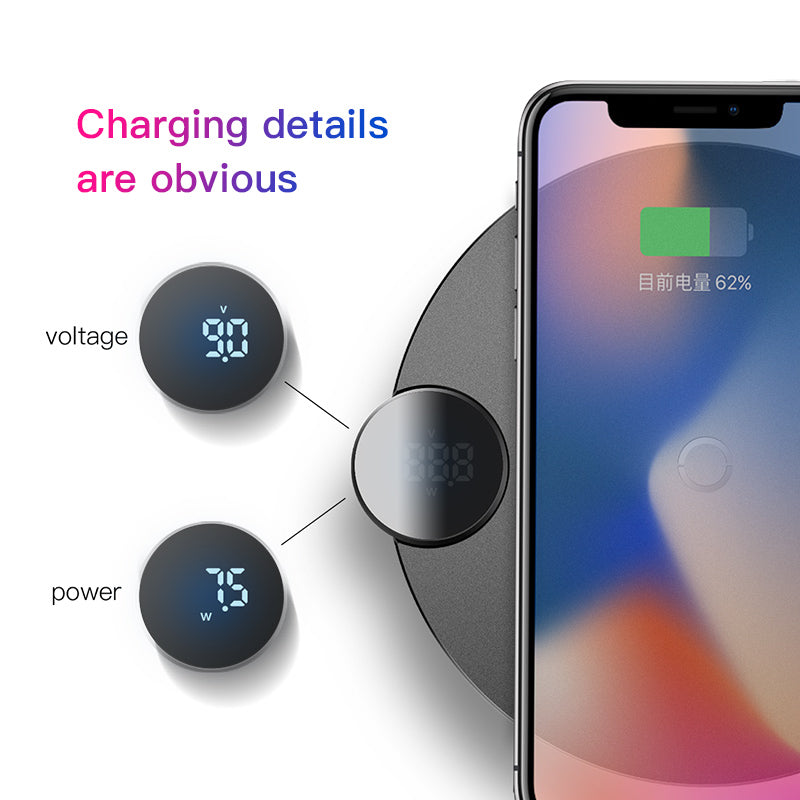 Baseus LED Qi Wireless Charger For iPhone Xs Max X 8 10W Fast Wirless Wireless Charging Pad For Samsung LG HUAWEI Google Sony - Hot Phone Tech