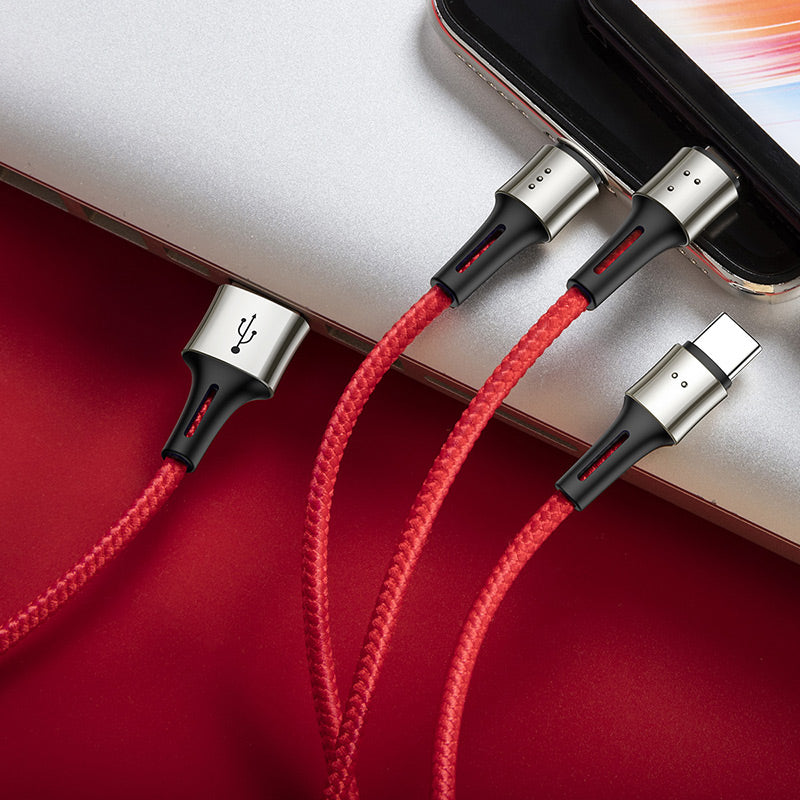 Baseus 3 in 1 USB Cable for iPhone XS MAX XR XS 8 7 3.5A Fast Charger Embossed Design Micro USB Type C Cable for Mobile Phone Cable - Hot Phone Tech