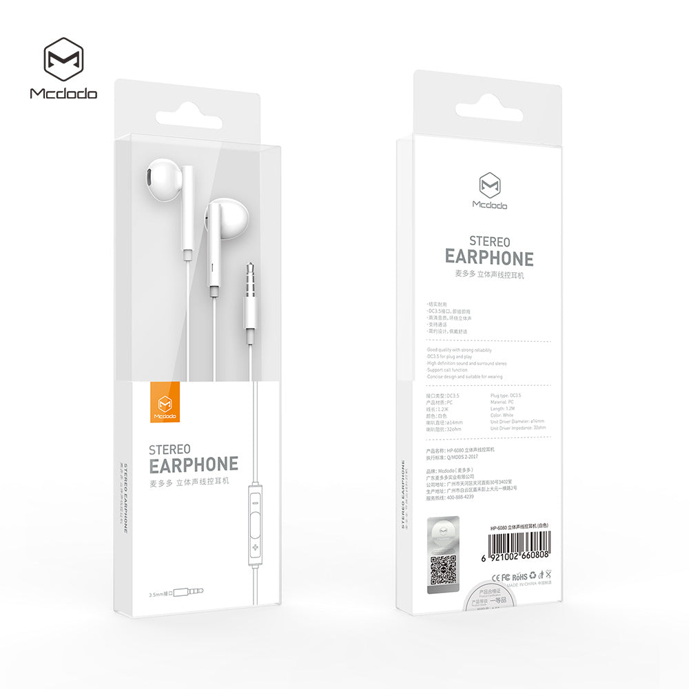 Mcdodo Wired Earphone 3.5mm Jack In Ear Headset With Music Stereo Bass Sound Earphone Earbuds For xiaomi iPhone Samsung HUAWEI LG Google LG Earpiece - Hot Phone Tech