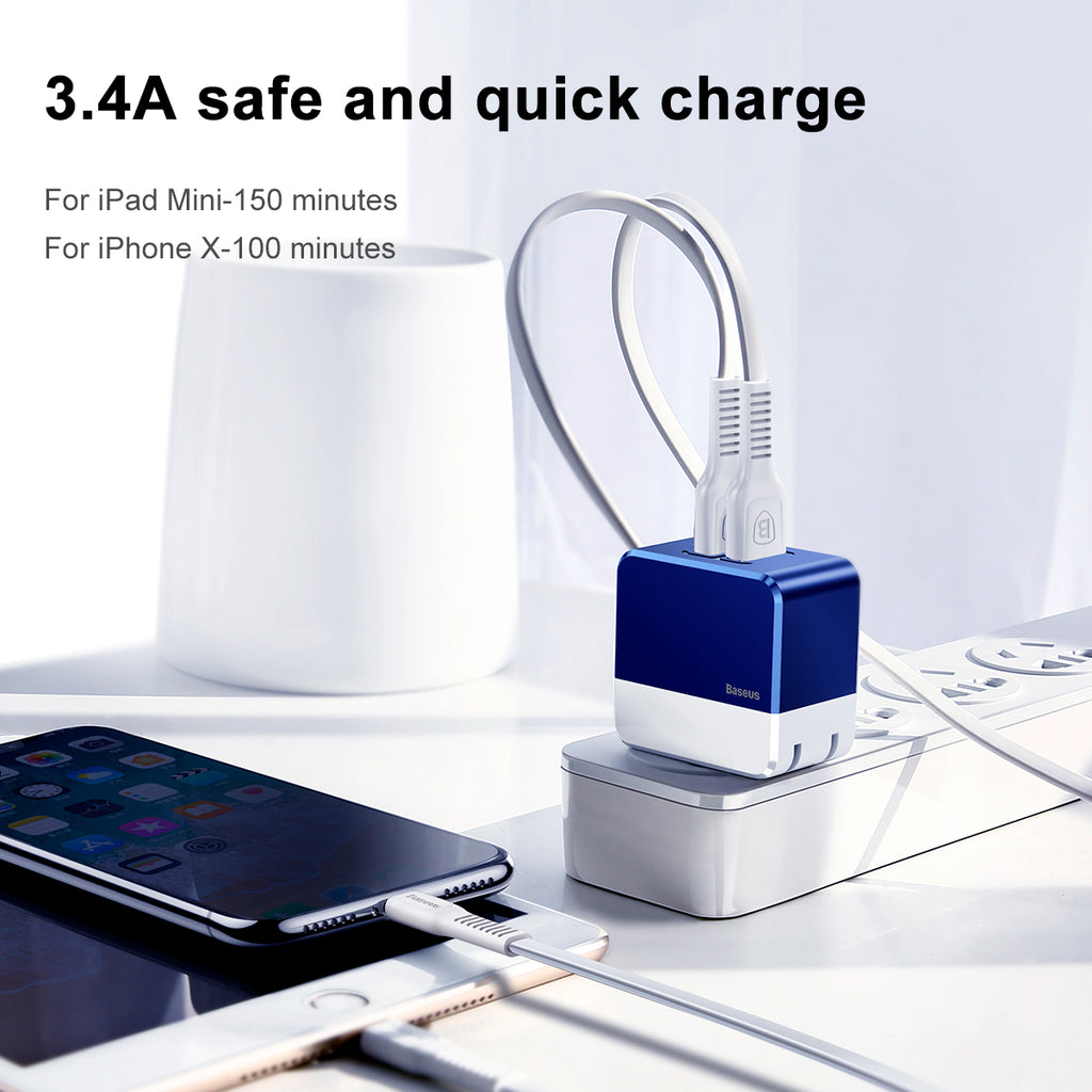 Baseus 34A  Dual USB Charger Adapter US Plug Travel Wall Quick Charge Charger For iPhone Samsung Xiaomi HTC LG Google Mobile Phone Charger - Hot Phone Tech