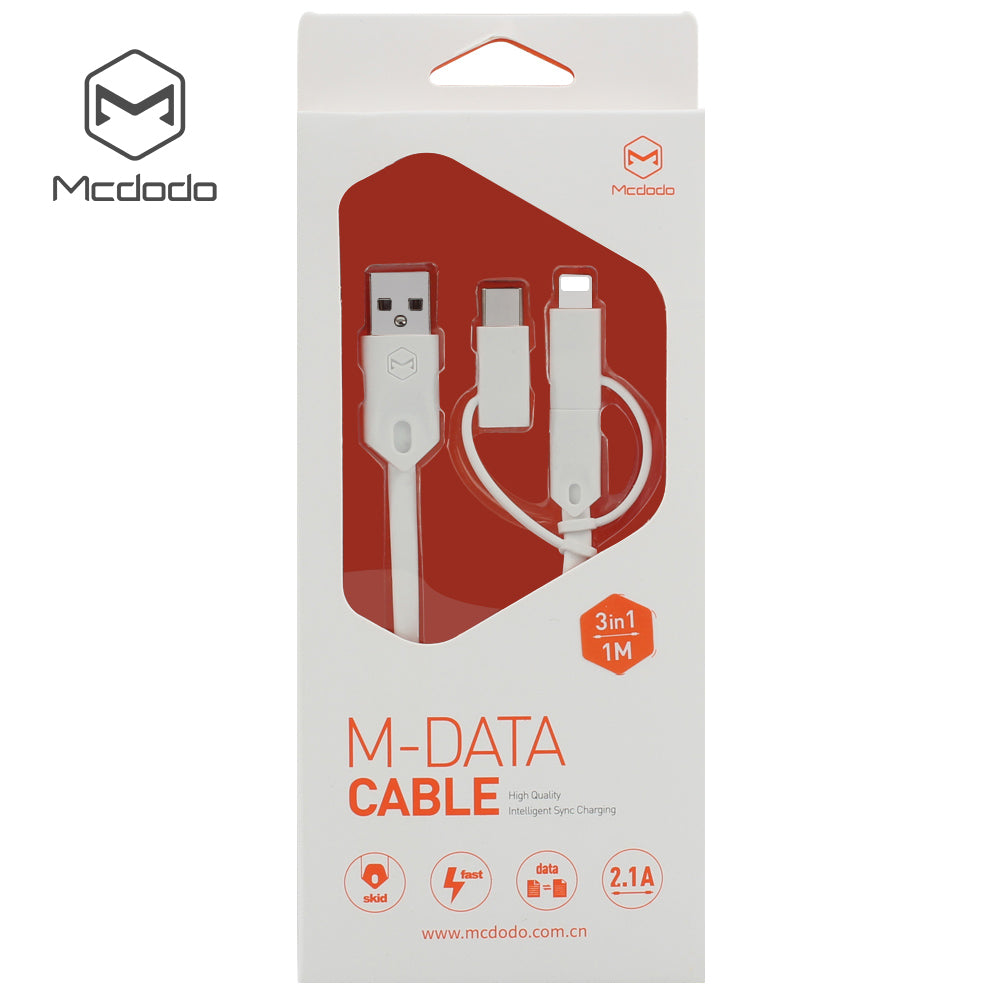 MCDODO 3 in 1 Type-C USB micro Cable For iPhone XS MAX XR X 8 7 6 6S Plus Fast Charging Type C Cable For Samsung Sony LG HUAWEI Google - Hot Phone Tech