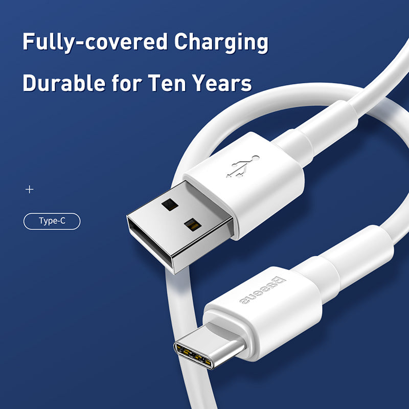 Baseus White TPE Type USB C cable for HUAWEI Samsung Sony LG Google 3A Super Fast Charging USB C 3A fast Charging For iPhone XS MAX XS XR X 8 7 6 - Hot Phone Tech