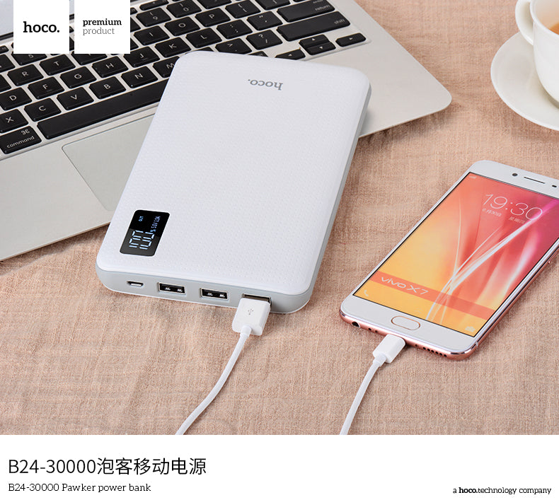 HOCO Power Bank 30000mAh 3USB Portable External Mobile Battery Charger Li-Polymer Support LCD Display poverbank for iPhone Sony Samsung LG HUAWEI Google  all phones - Hot Phone Tech