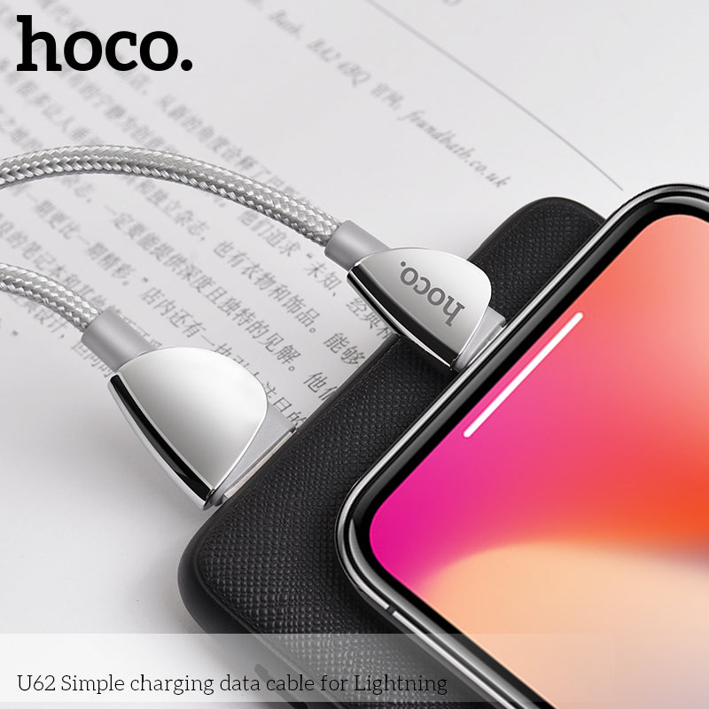 Hoco USB Cable For Lightning Fast Charging 2.4a Wire For iPhone XS MAX XS X XR 7 8 Plus iPad Mini Data SYNC Cord Dual Sided Nylon Braided - Hot Phone Tech