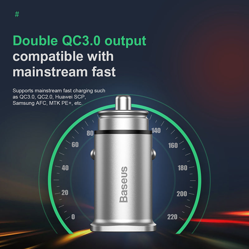 Baseus 30W Quick Charge 4.0 3.0 Car Charger For Samsung Huawei iPhone Google LG HTC Supercharge SCP USB Type C PD 3.0 Fast Charging Car Phone Charger - Hot Phone Tech