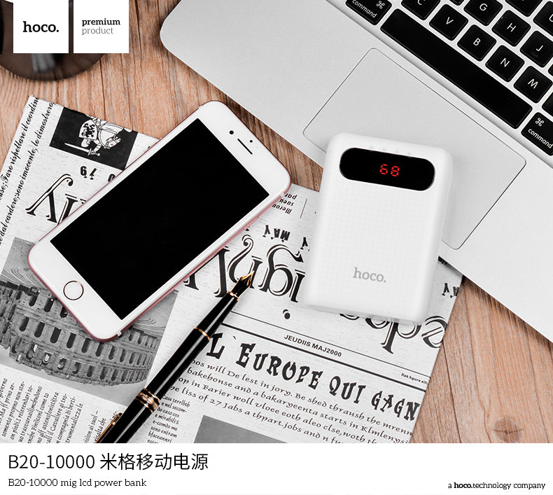 HOCO 10000mAh Power Bank Dual LED USB 18650 External Battery Universal Phone portable charger PowerBank 10000mAh for iPhone Samsung Sony Google LG HUAWEI - Hot Phone Tech