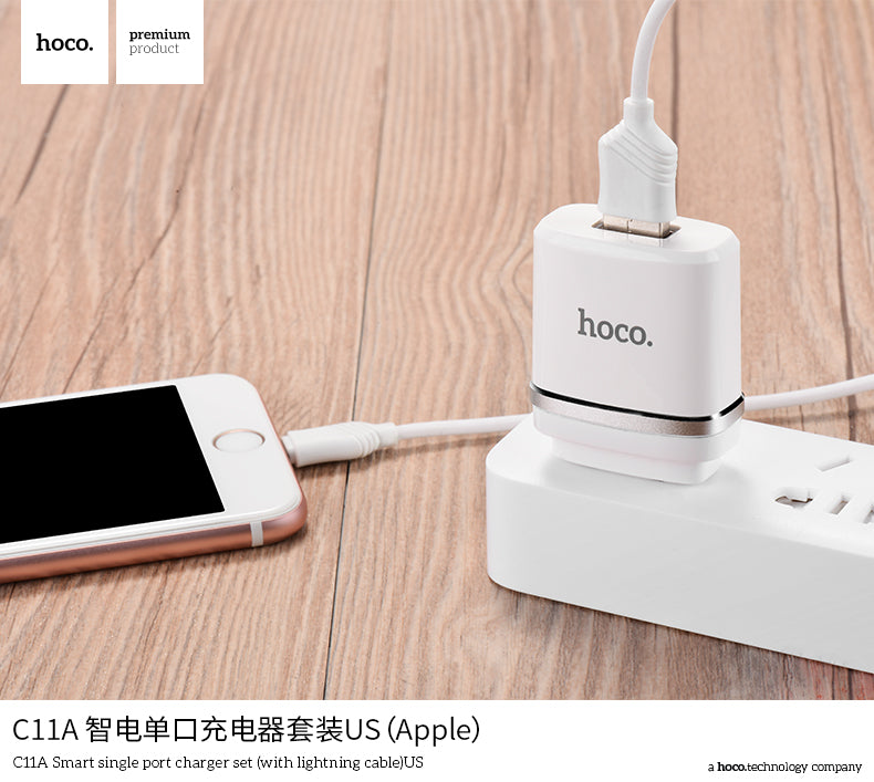 HOCO C11A Universal Single USB Charger Wall Charger US Plug Portable for iPhone Google Sony LG HUAWEI Samsung Charging Travel Adapter 5V 1.0A with Apple cable - Hot Phone Tech