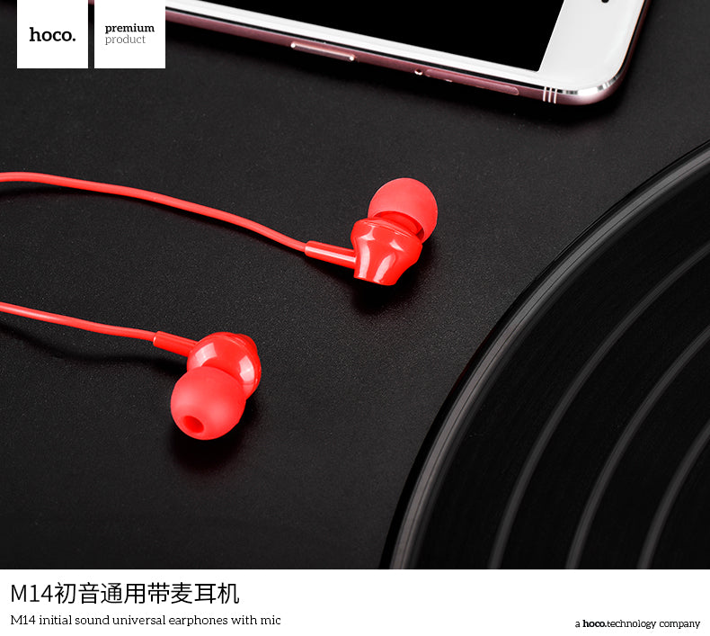HOCO M14 Unviersal 3.5mm Plug Wired In-ear Earphones Bass Stereo Headset with Mic Earphone Headset for Samsung Google Sony HUAWEI LG iPhones and Music Hot Sale - Hot Phone Tech