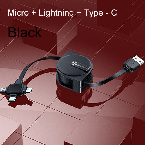 USAMS 3 in 1 Type C USB Lightning Cable Micro USB Storage Cable Data SYNC Fast Charging Charger Cord For iPhone Samsung Sony LG HUAWEI Google - Hot Phone Tech