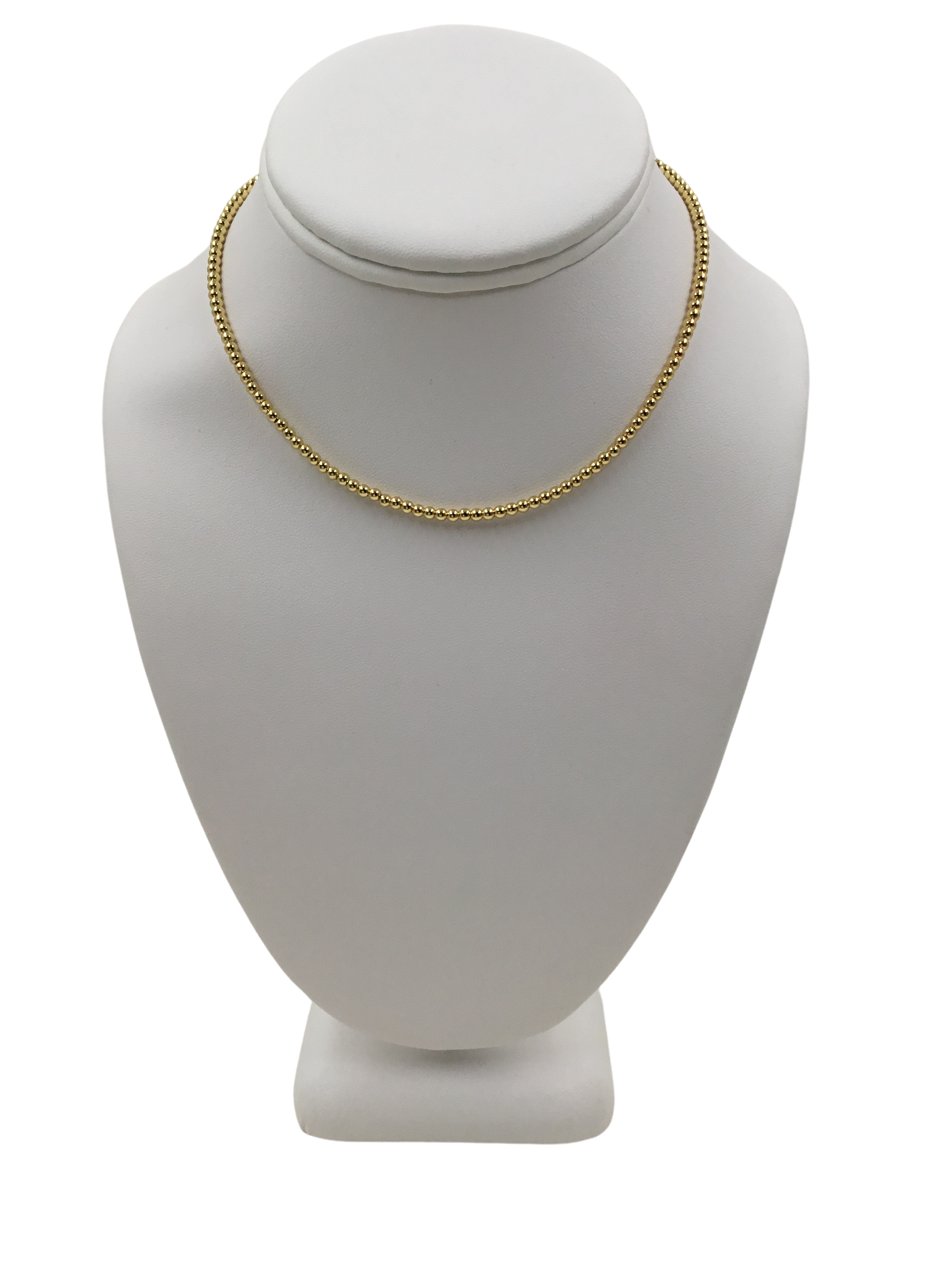 3MM Rhodium Beads Choker Necklace