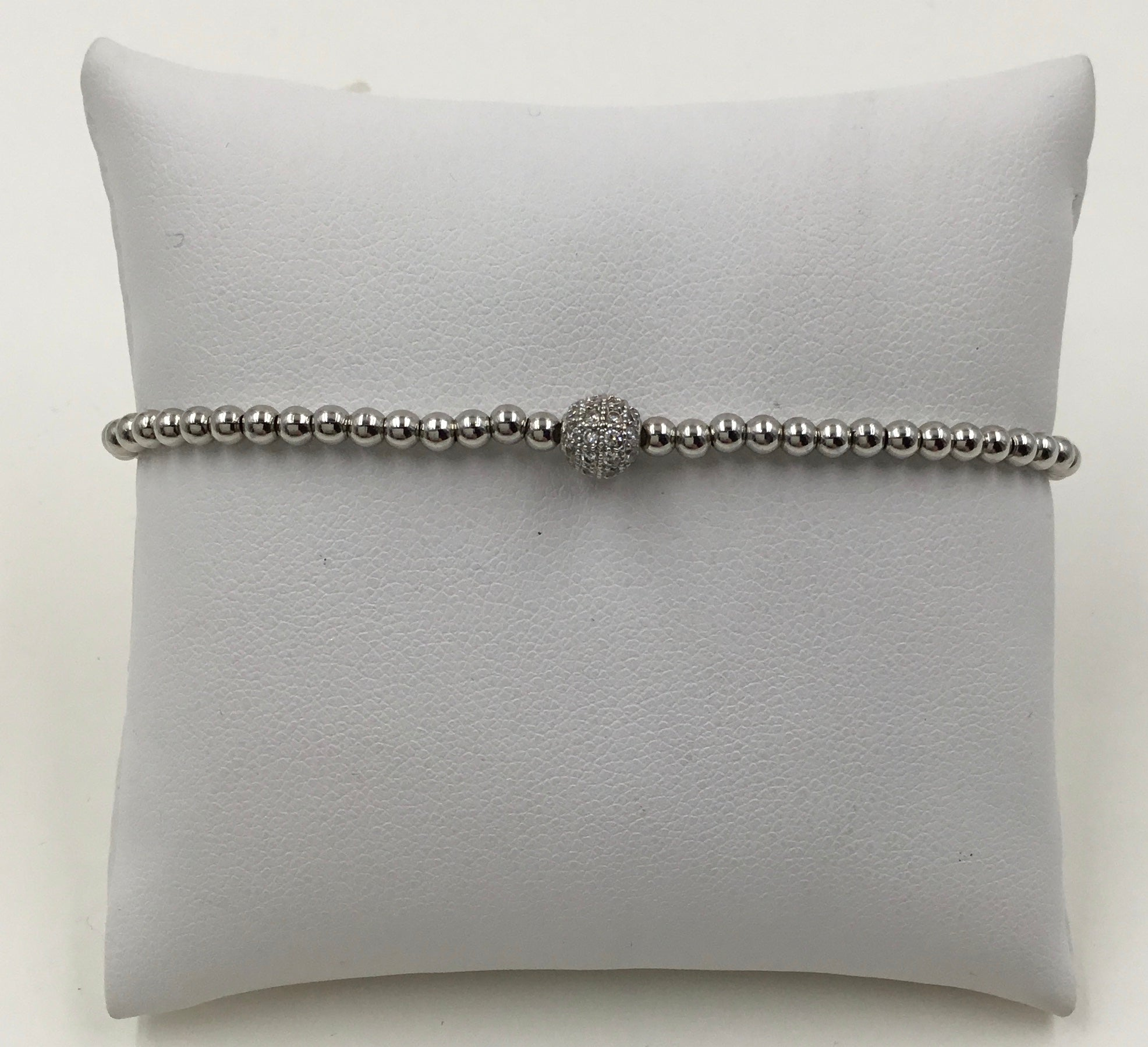 Metal Bead 3MM Pave Ball Stretch Bracelet