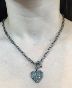 "Diamond .75"" heart pendant on chain with pave lock necklace"