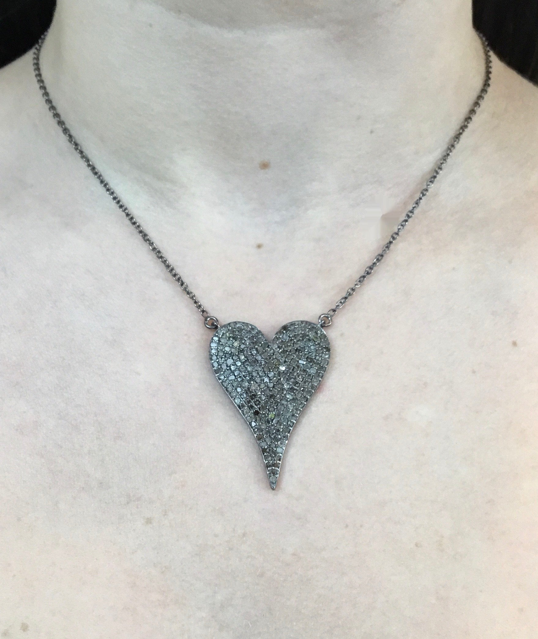 "Diamond 1.5"" heart pendant on sterling chain"