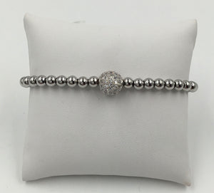 Metal Bead 6MM Pave CZ Ball Stretch Bracelet