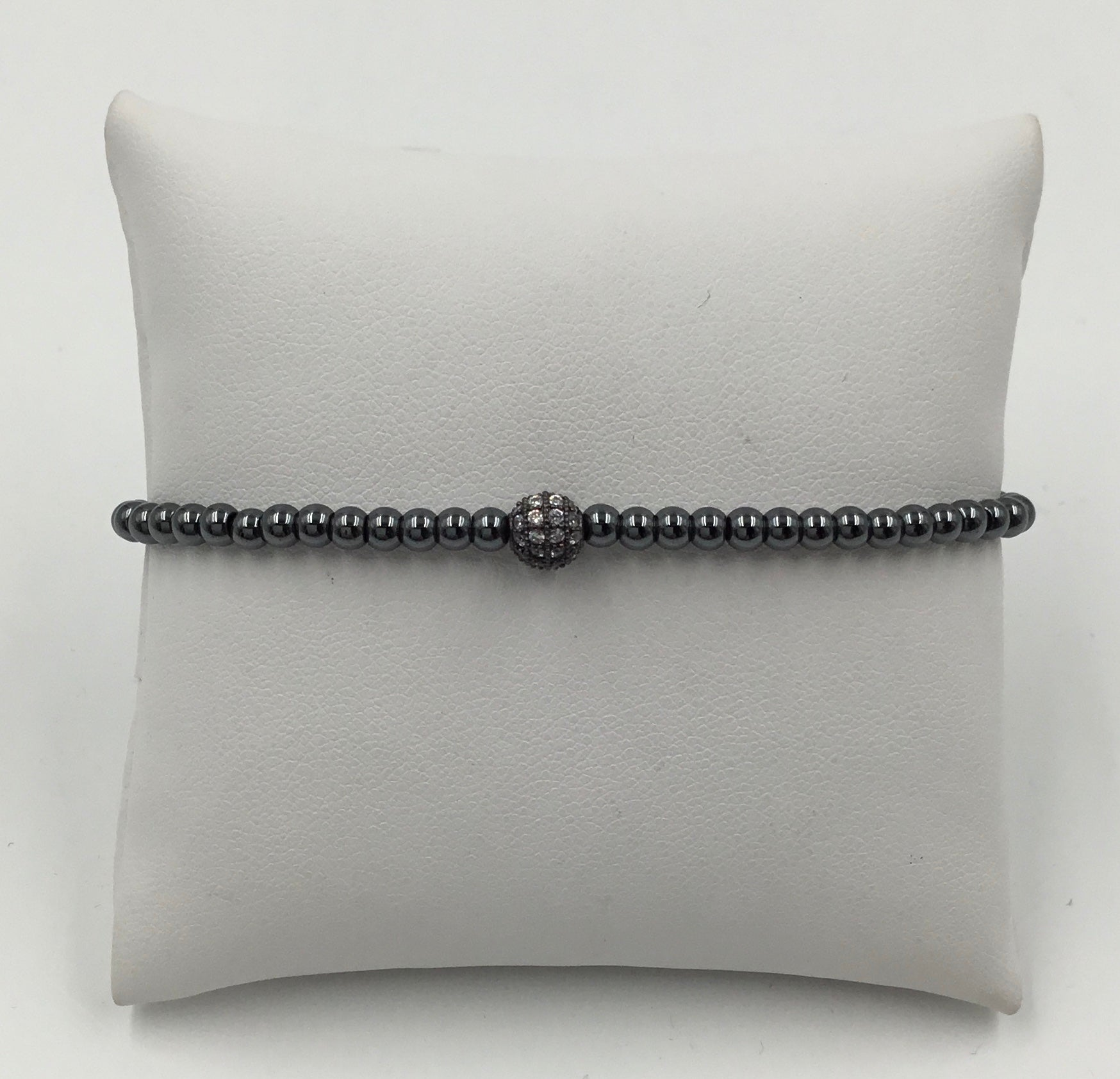 Metal Bead Oxidized 3MM Pave Ball Stretch Bracelet