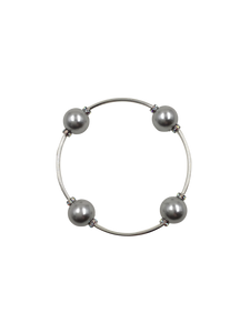 Made As Intended Silver Pearl with Crystal Rondelle Blessing Bracelet