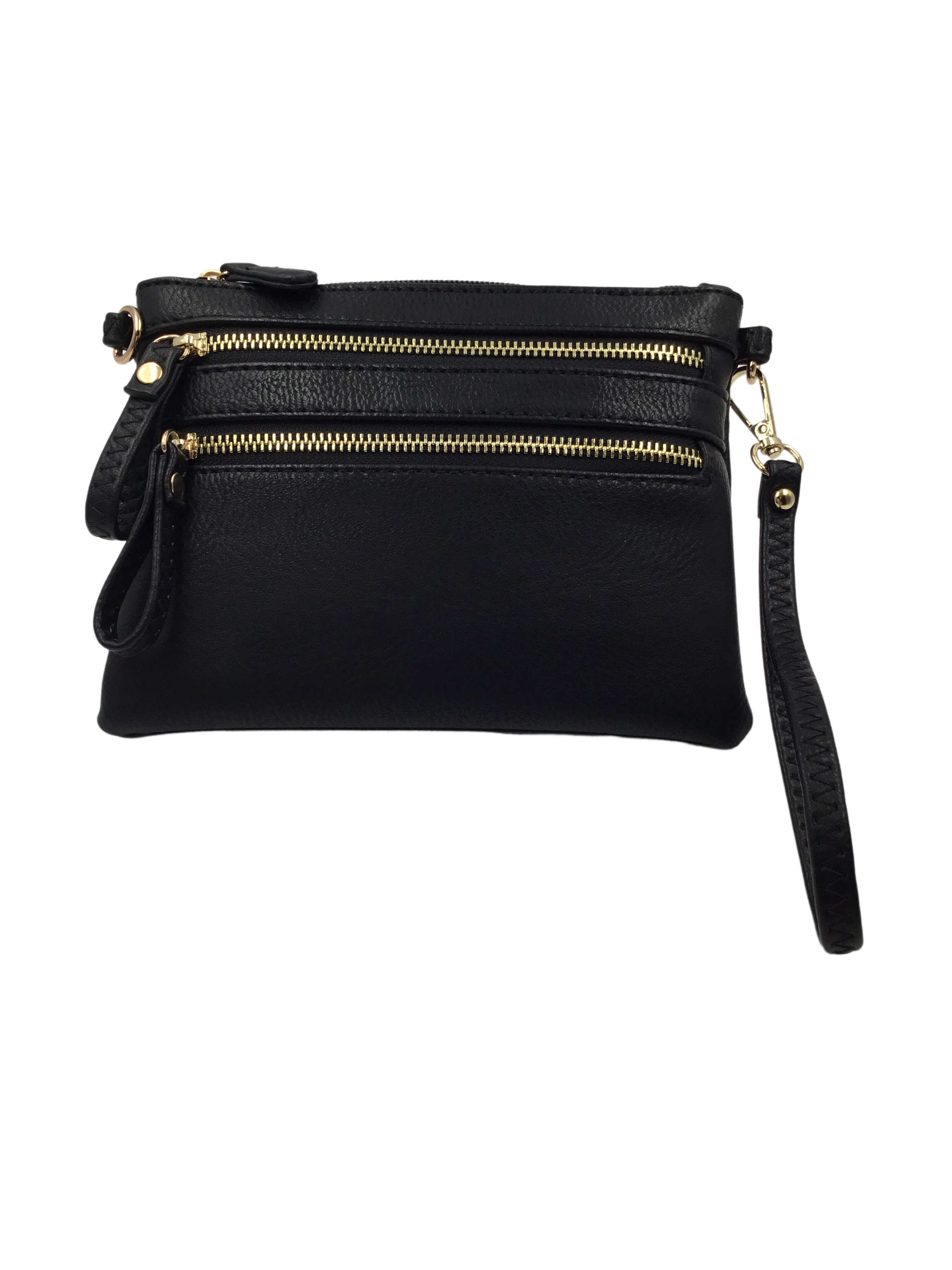 Black Double Zipper Vegan Crossbody Purse